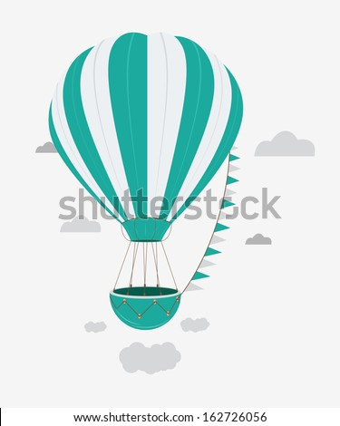 Hot air balloon isolated background white - stock vector