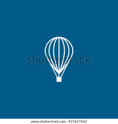 Hot Air Balloon Line Icon On Blue Background