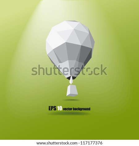 hot air balloon on the green background eps 10 - stock vector