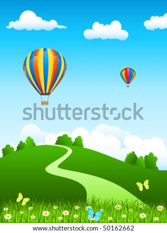 hot air balloon over green landscape - vector illustration - stock vector