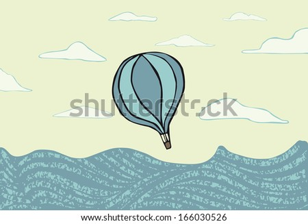 Hot air balloon over the sea. illustration. EPS vector file. Hi res JPEG included.  - stock vector
