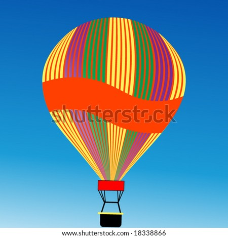 hot air balloon with banner for your message - stock vector