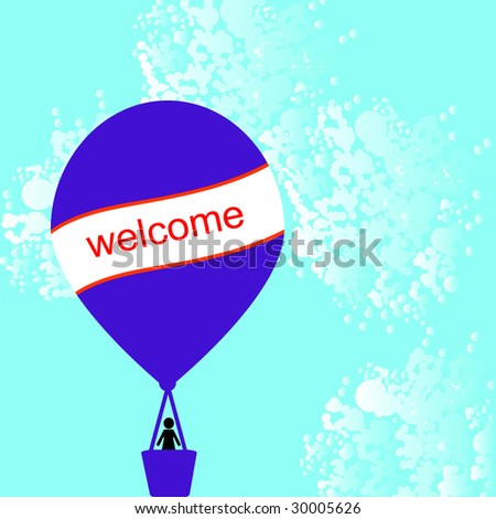 hot air balloon with card for your message - stock vector