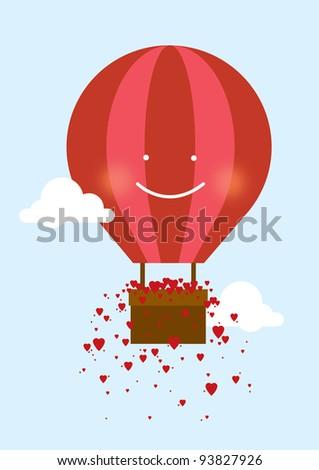 hot air balloon with hearts vector/illustration - stock vector