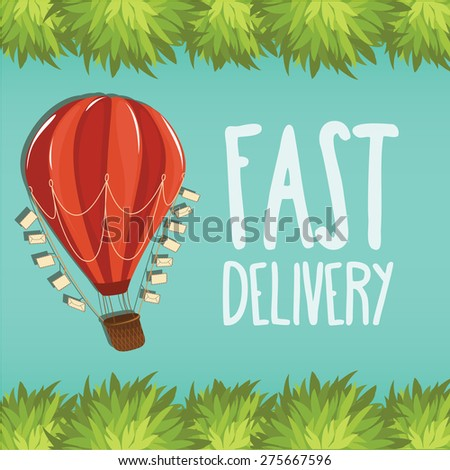 Hot Air balloon with letters - Fast Delivery - Vector Illustration - stock vector