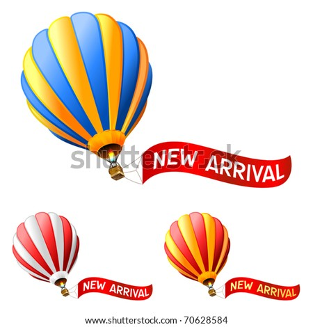 hot air balloon with new arrival sign - stock vector