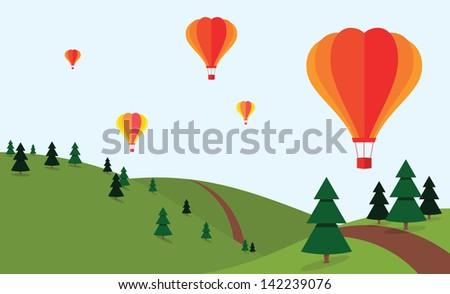 Hot air balloons above fir fields - stock vector