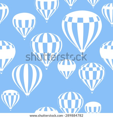 hot air balloons fly in the blue sky, pattern