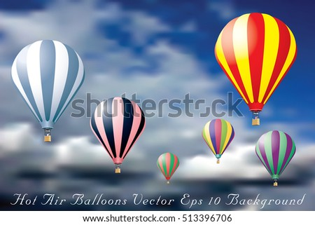 hot air balloons in cloudy sky, vector background