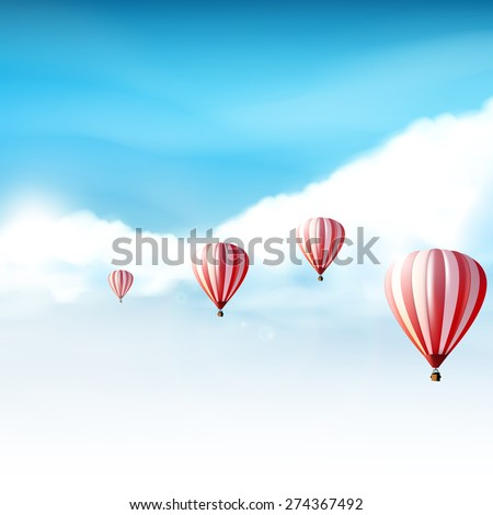 Hot-air balloons in the cloudy blue sky, Realistic Vector illustration (not traced) - stock vector