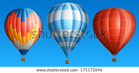 Hot air balloons, isolated on blue, set one, EPS 10, contains transparency. - stock vector