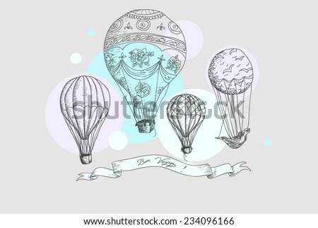 Hot air balloons postcard - stock vector
