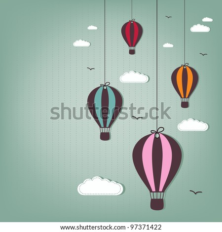hot air balloons - scrap elements - stock vector