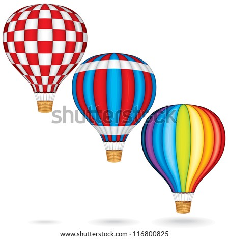 Hot Air Balloons with Woven Gondola. Colorful Vector Illustration isolated on white Background