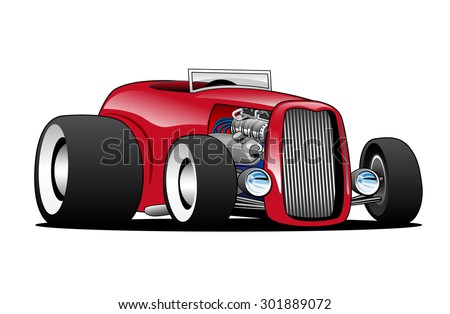 Hot American vintage hot rod hiboy roadster car cartoon, red, cool stance, low profile, big tires on vintage rims - stock vector