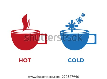 Hot and Cold Cup Symbol Isolated on White. Editable EPS10 Vector. - stock vector