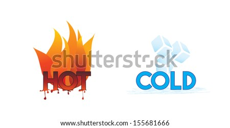 Hot and Cold or Fire and Ice icons; climate symbol icon - stock vector