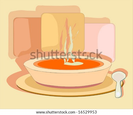 Hot breakfast or soup ready to serve or eat - stock vector