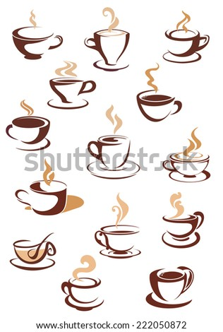 Hot brown coffee cup  icons set  with steam and saucer for cafe or restaurant menu design - stock vector
