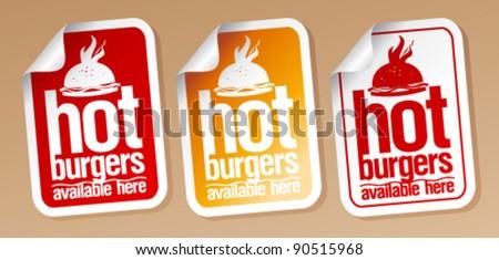 Hot burgers, stickers set. - stock vector