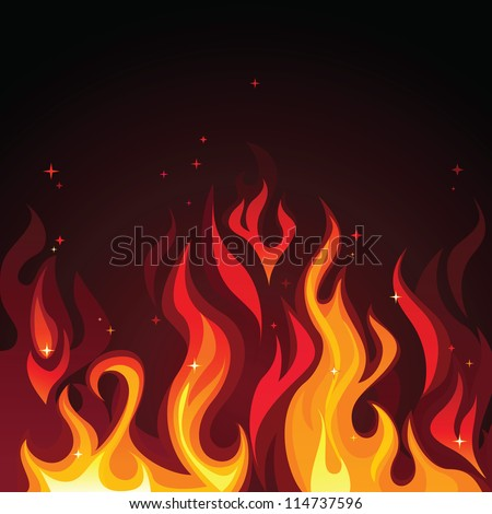 hot burning blazing fire flames on dark background - stock vector