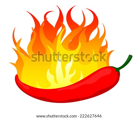 Hot chili pepper in fire  - stock vector