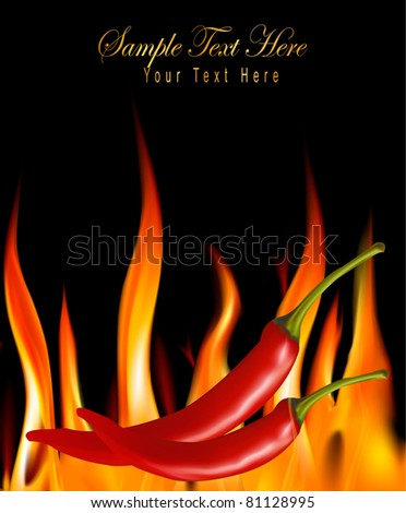 Hot chili peppers in fire. Vector. - stock vector
