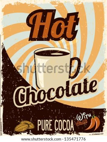 Hot Chocolate retro - stock vector