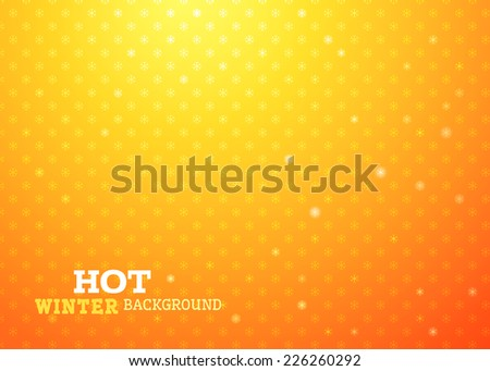 Hot Christmas background. Yellow snowflakes on bright orange background. There is place for your text. - stock vector