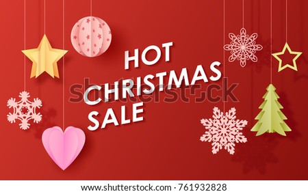hot christmas sale poster with toys hanging on thread icons of tree and star shaped