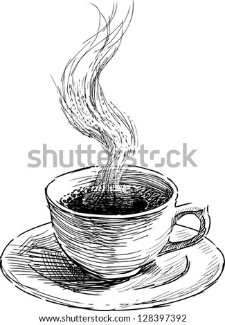 hot coffee - stock vector