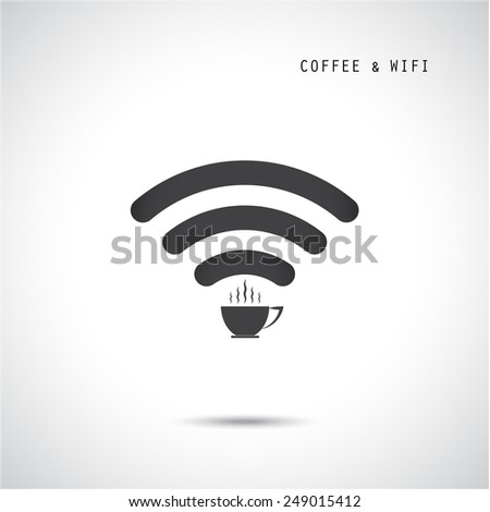Hot coffee cup and wifi sign. Technology and business background. Vector illustration - stock vector