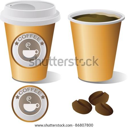 Hot Coffee Cup set , illustrator - stock vector