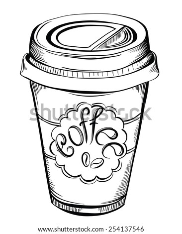 Hot Coffee Disposable to go Cup with lids and Label with coffee beans and text isolated on a white.  Hand drawn illustrations - stock vector