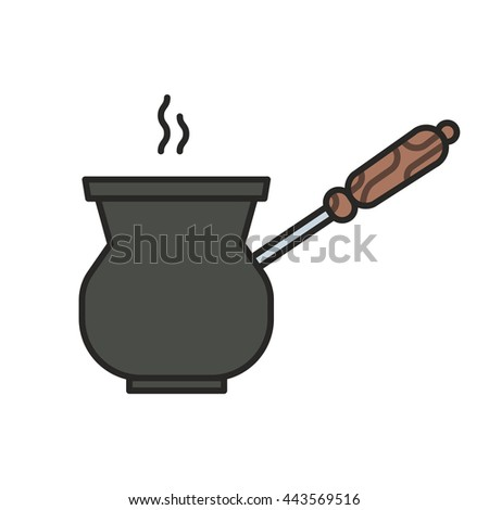 Hot coffee prepared in a Turk. Simple icon. Flat vector illustration isolated on white background.
