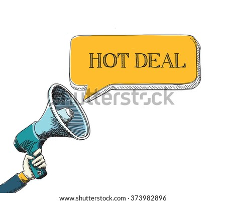 HOT DEAL  word in speech bubble with sketch drawing style - stock vector