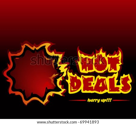 Hot deals promotional vector banner. You can use the banner for a single deal also, the letter S is not grouped with the rest letters, so can be easily removed. - stock vector