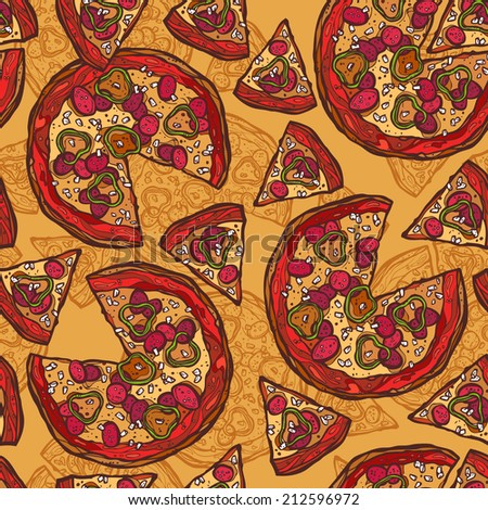 Hot delicious tasty meat cheese olive pepper sketch pizza seamless pattern vector illustration. - stock vector