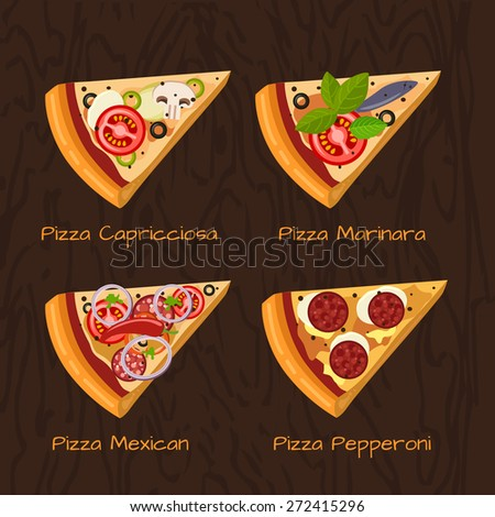 Hot delicious tasty pizza in flat style. Vector illustration of pizza Mexican, Capricciosa, Marinara, Pepperoni. - stock vector