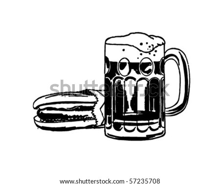 Hot Dog And Root Beer - Retro Clip Art
