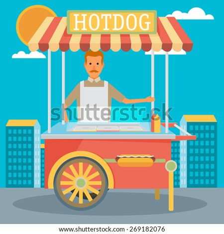 hot-dog cart with seller - vector illustration - stock vector
