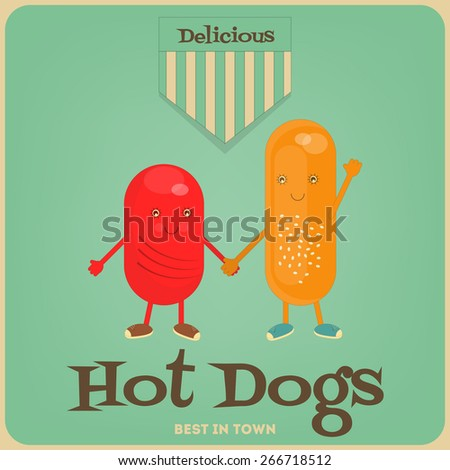 Hot Dog Cartoon - Funny Sausage and Bun. Vector Illustration. - stock vector