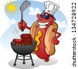 Hot Dog Cartoon Grilling On A Sunny Summer Day - stock vector