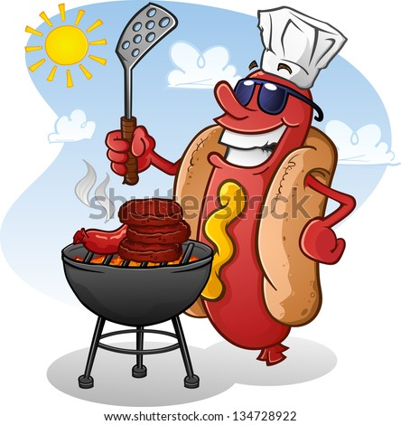 Hot Dog Cartoon Grilling On A Sunny Summer Day