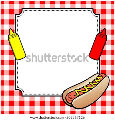 Hot Dog Cookout Invite - stock vector