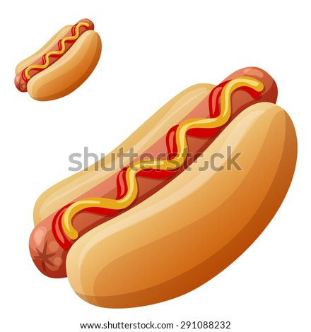 Hot dog. Detailed vector icon isolated on white background. Series of food and drink and ingredients for cooking. - stock vector