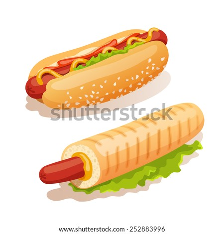 Hot dog french fast food decorative icons set isolated vector illustration