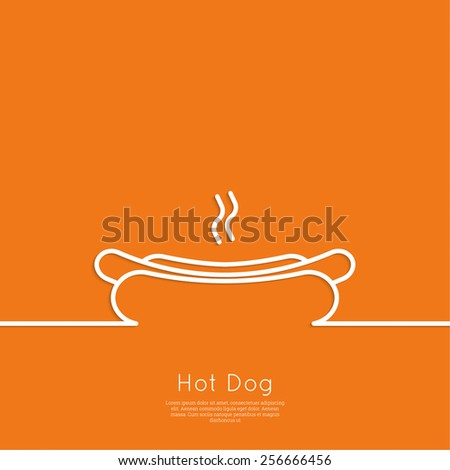 Hot Dog icon. Sausage grilled in a fresh bun. Outline. minimal. Advertising for fast food - stock vector
