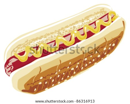 hot dog illustration - stock vector