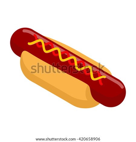 Hot dog isometrics. Bun with sausage. Mustard and ketchup. 3d illustration of food. Fast food isolated. - stock vector